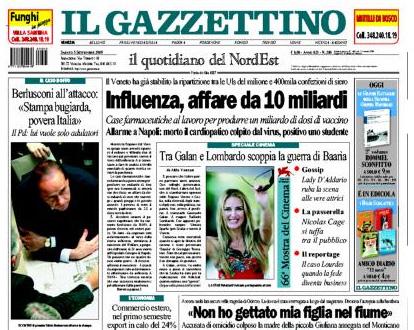 Il Gazzettino, 6 settembre 2009.