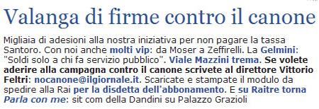 Il Giornale, edizione in rete, oggi.