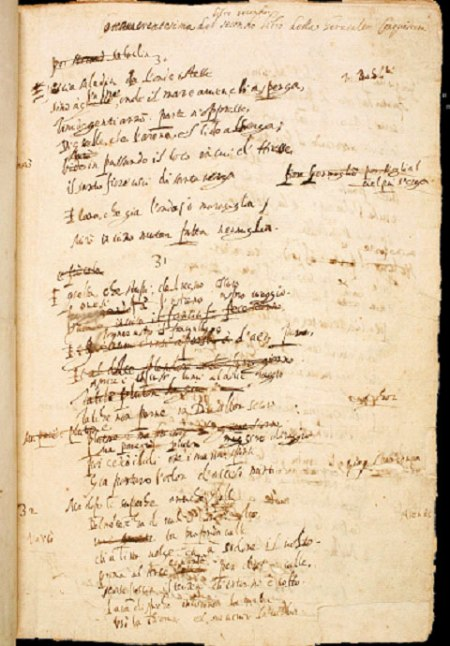 Una pagina del manoscritto autografo della Gerusalemme Conquistata di Torquato Tasso, conservato alla Biblioteca Nazionale di Napoli