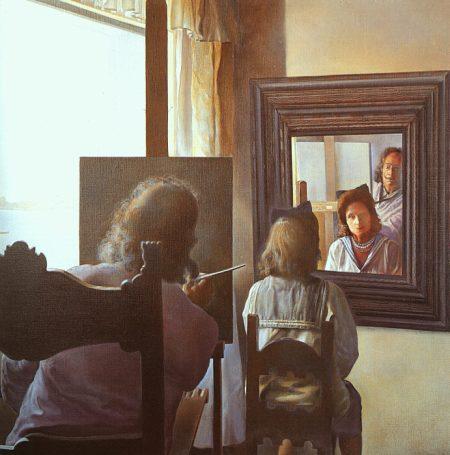 Dalì di spalle mentre ritrae Gala dalle spalle, eternalizzato da sei cornee virtuali provvidenzialmente riflesse in sei specchi reali, incompiuto, 1972/73