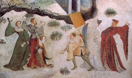 Spassi medievali. Gennaio nel ciclo dei mesi di Torre Aquila, Trento, nel Castello del Buonconsiglio. Dettaglio