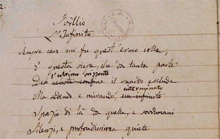 Uno dei manoscritti de L'infinito di Leopardi