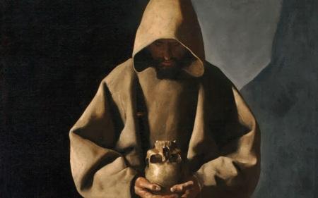 Francisco de Zurbarán, san Francesco che contempla il teschio