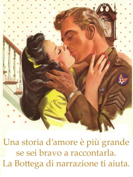 Una signora e un signore si baciano