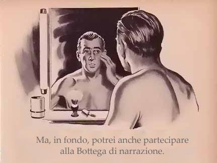 Un signore, davanti allo specchio, riflette sul senso della vita