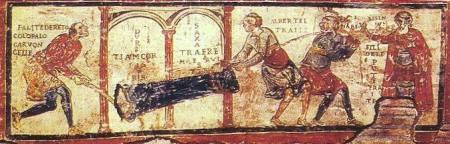 Uno dei più antichi fumetti conosciuti. Basilica di San Clemente, Roma (1100 circa)