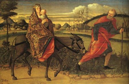 In questa pregevolissima tavola di Vittore Carpaccio (1465-1526) è rappresentata Elisabetta Sgarbi che, a cavallo di Umberto Eco, fugge dalla Bompiani reggendo in braccio la neonata Nave di Teseo. A reggere la guida, rappresentato in allegoria come un vecchio saggio e barbuto, il Consenso Antiberlusconiano. Sullo sfondo il tipico paesaggio dell'Oltrepò Ferrarese.