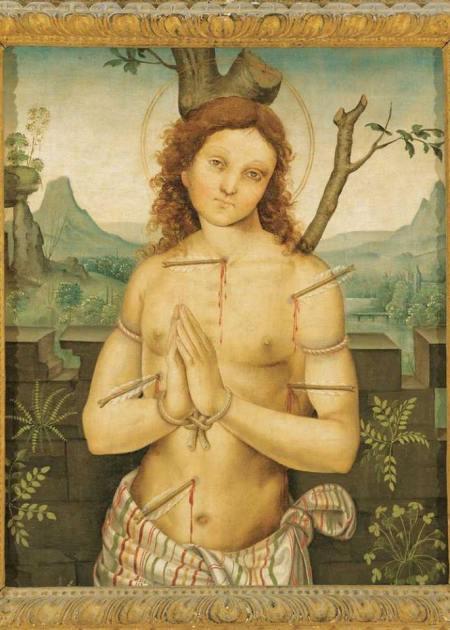In questa pregevole opera di Timoteo Viti (1469-1523) si può osservare il Giovane Autore che, trafitto dalle Critiche Malevole, scuote le mani giunte e guarda chi lo guarda come per dire: Ma chi me l'ha fatto fare?