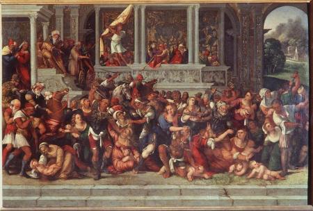 In questo dipinto del primo quarto del Cinquecento, attribuito a Ludovico Mazzolino, è rappresentato un comitato editoriale impegnato nella selezione delle opere da pubblicare. L'editore (riconoscibile dal turbante) osserva la scena con distacco; i direttori di collana (riconoscibili perché a cavallo) partecipano attivamente all'azione. Il Giovane Prescelto per l'Esordio (riconoscibile dalla veste bianca dell'innocenza) contempla dall'alto della loggia il Destino al quale è sfuggito.