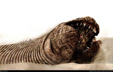 Arrakis: fremen cavalcano un verme della sabbia