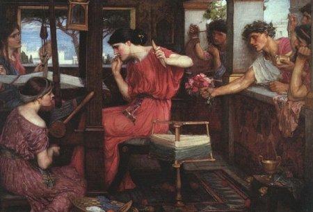 Penelope, asssediata dai pretendenti mentre tesse, non se li fila (opera di John William Waterhouse)