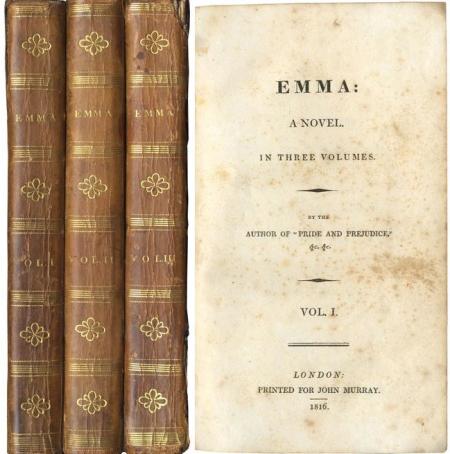 """Prima edizione, come d'uso anonima, del romanzo Emma  (""""dell'autore di Orgoglio e pregiudizio"""", dice il frontespizio)"""